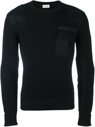 Moncler Ribbed Patch Pocket Sweater Black