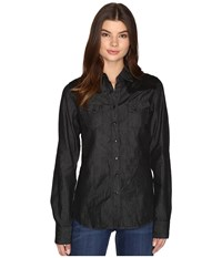 Cruel Long Sleeve Arena Fit Cotton Chambray Black Women's Long Sleeve Pullover