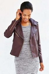 Members Only Faux Leather Jacket Maroon