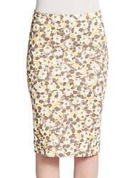 Peserico Floral Pencil Skirt Yellow