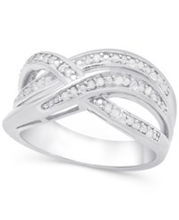 Victoria Townsend Diamond 1 4 Ct. T.W. Weave Style Ring In Sterling Silver Or 18K Gold Plated Sterling Silver