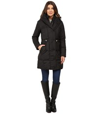 Cole Haan Bib Front Down Coat With Oversized Shawl Collar Black Women's Coat
