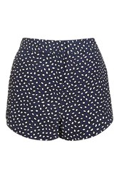 Topshop Tall Animal Smudge Shorts Navy Blue