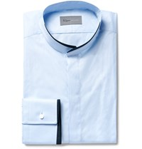 Kilgour Slim Fit Contrast Tipped Grandad Collar Cotton Shirt Light Blue