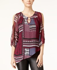 Amy Byer Bcx Juniors' Printed Cold Shoulder Top Patch Print