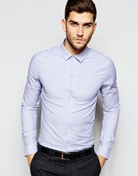 Asos Skinny Shirt In Blue Fine Stripe With Long Sleeves Blue