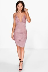 Boohoo Felicia Rouched Detail Midi Dress Rose Gold