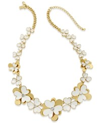 Kate Spade New York Gold Tone White Enamel Flower And Crystal Statement Necklace