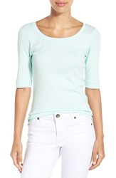 Caslonr Women's Caslon Ballet Neck Cotton And Modal Knit Elbow Sleeve Tee Teal Fair
