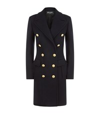 Balmain Slim Wool Cashmere Coat Female Navy