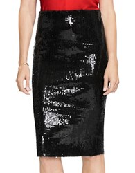 Vince Camuto Sequined Pencil Skirt Rich Black