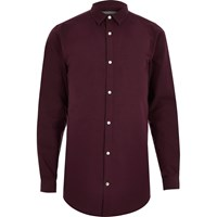 River Island Mens Red Longline Oxford Shirt