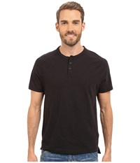 Kenneth Cole Sportswear Dressy Slub Henley Black Men's Short Sleeve Knit
