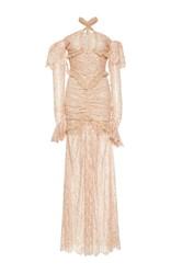 Alessandra Rich Off The Shoulder Lace Gown Tan