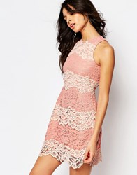 Foxiedox Mona Contrast Lace Mini Dress With Lace Up Back Detail Baby Pink