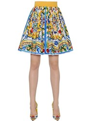 Dolce And Gabbana Maiolica Printed Cotton Poplin Skirt
