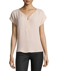 Nikkies Threads Lace Back Half Zip Cap Sleeve Blouse Taupe