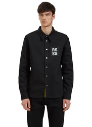 Raf Simons Logo Patch Denim Shirt Black