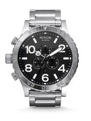 Nixon Chronograph Stainless Steel Bracelet Watch Silver Black