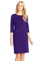 Petite Women's Ellen Tracy Seamed Ponte Sheath Dress Purple