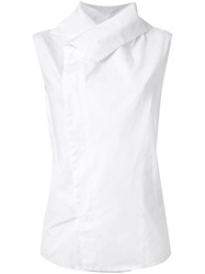 Aganovich Collared Sleeveless Top White
