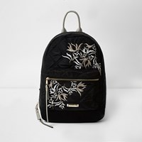 River Island Womens Black Embroidered Backpack