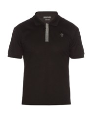 Alexander Mcqueen Studded Trim Cotton Pique Polo Shirt Black