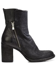 Officine Creative Snakeskin Effect Chunky Heel Ankle Boots Black