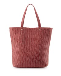 Neiman Marcus Distressed Woven Tote Bag Rose Pink