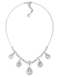 Carolee Silvertone Necklace With Clear Crystal Accents