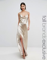 Jarlo Tall Cowl Front Strappy Cami Maxi Dress With Thigh Split Gold Silver