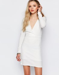 Daisy Street Dress With Plunge Neck And Long Sleeves White