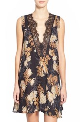 Women's Free People 'So You Say' Lace Trim Floral Chemise Night Combo