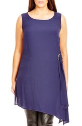 City Chic Plus Size Women's Sleeveless Crepe Side Tie Tunic Navy