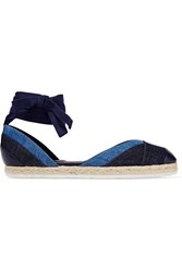 Pierre Hardy Bauhaus Beach Denim And Leather Espadrilles Dark Denim