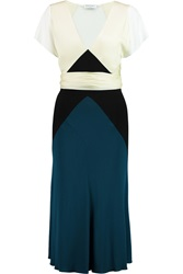 Vionnet Stretch Jersey Crepe And Silk Blend Dress Blue