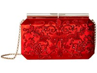 Oscar De La Renta Saya Red Embroidered Satin Clutch Handbags