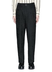 Uma Wang 'Osaka' Floral Jacquard Cotton Linen Silk Curved Pants Black