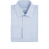 Brioni Men's Plaid Dress Shirt Light Blue