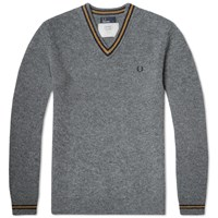 Fred Perry Shetland Wool V Neck Sweater Grey Marl