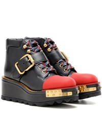 Prada Leather Platform Boots Black
