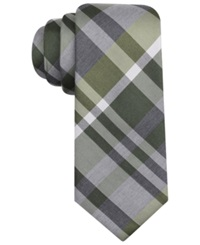 Alfani Spectrum Central Large Plaid Slim Tie Olive
