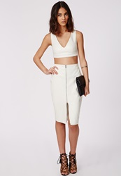 Missguided Embossed Zip Front Faux Leather Midi Skirt White