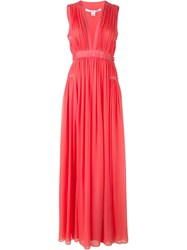 Diane Von Furstenberg Front Slit Ruffled Long Dress Pink And Purple