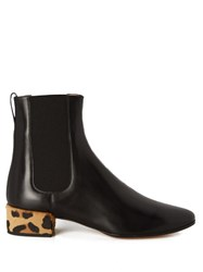 Francesco Russo Chelsea Leather And Calf Hair Ankle Boot Black Multi