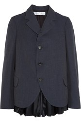 Comme Des Garcons Wool Twill And Pleated Satin Blazer Storm Blue