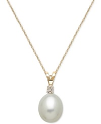 No Vendor Cultured Freshwater Pearl 8Mm And Diamond Accent Pendant Necklace In 14K Gold