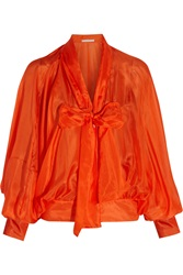 Antonio Berardi Pussybow Silk Voile Blouse Orange