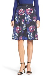 Ellen Tracy Floral Print Front Pleat Skirt Regular And Petite Navy Combo