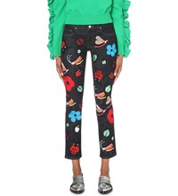Victoria Beckham Alt Embroidered Slim Mid Rise Jeans Forest Embroidery
